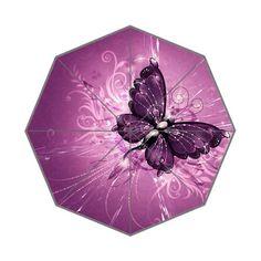 Gorgeous Purple Butterfly Floral Pattern Custom Foldable Umbrella DIY Umbrella >>> For more information, visit image link.
