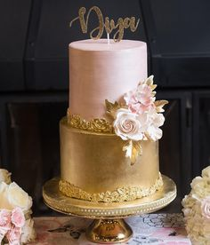 100 Pretty Wedding Cakes To Inspire You For An Unforgettable Wedding - pink and gold wedding cake #weddingcake #wedding