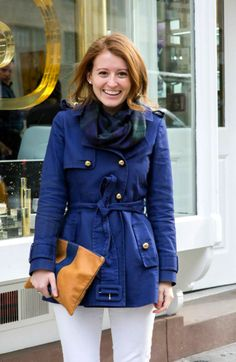 OUTFIT: NAVY TRENCH COAT AND PLAID SCARF - Design Darling