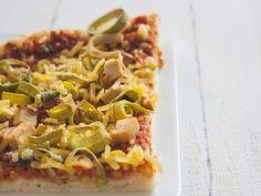 Lauch-Räuchertofu-Pizza