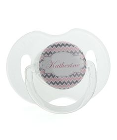 Crystal Dream Pink Zigzag Personalized Pacifier by Crystal Dream #zulily #zulilyfinds