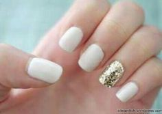 white nails rosegold ring finger | My nails (bridesmaid's nails will be all gold with one white finger ...