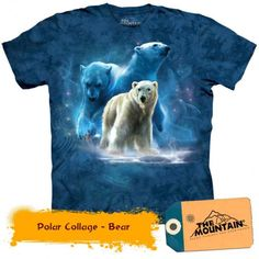 Polar Bear Shirt Tie Dye Arctic Collage T-shirt Adult Tee Wildlife Shirts Animal T-Shirts Tee Available in Small, Medium, Large, XL, & Boys Shirts, Tee Shirts, T Shirts For Women, Renaissance, Polaroid, White Polar Bear, Polar Bears, Online Shops, Online Shopping