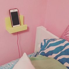 bedside phone stand phone holder wood phone display charging station teen dorm gift idea for her for him phone shelf iphone by NewLoveDecor on Etsy Cute Dorm Rooms, College Dorm Rooms, College Tips, Dorm Room Crafts, College Essentials, Ideias Diy, Teen Girl Bedrooms, Teen Rooms, Home Decor Ideas