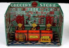 RARE 1920's Marx Tin Litho Home Town Grocery Store Playset