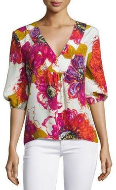 Trina Turk Bubble-Sleeve Floral Silk V-Neck Top, Multicolor - ShopStyle Blouse Styles, Blouse Designs, Floral Tops, Blouse And Skirt, Dress Sewing Patterns, Couture, Trina Turk, Silk Top, V Neck Tops