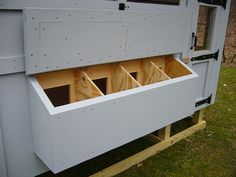 Chicken Nesting Box III 12 x 12 by 18 deep lower than 3' off ground (lower than roosts).