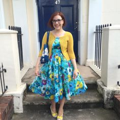 """11/07/15 Audrey in Unst cardigan (wet-blocked!) @emilyandfin Isobel dress and Irregular Choice Hello Ha shoes #memadeeveryday #knittersofinstagram"""