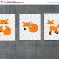 Fox Nursery Wall Art Print / baby boy room artwork decor / 8x10 inch / 3 piece…