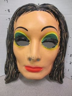 halloween mask vintage 1960s MORTICIA ADDAMS Family ABC TV show monster