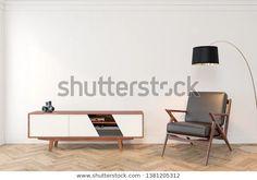 Find Mid Century Modern Interior Empty Room Empty Room, White Walls, Modern Interior, Floor Lamp, Mid-century Modern, Armchair, Mid Century, Lounge, Flooring