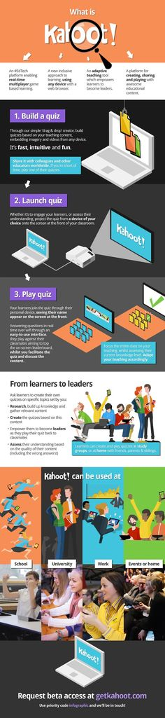 KAHOOT! Game-based classroom response system. This #EdTech infographic explains what Kahoot! is, how it works and the benefits to both educators and learners. With plenty more ideas in the pipeline, plus lots of learnings from our private beta users, we shall update this regularly.  We're on the look-out for more private beta users! Request beta access at http://getkahoot.com/ and use the priority code 'Infographic' - and we'll be in touch.  And, please share!