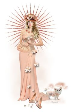 """""""Doll in Peach Gown"""" by ragnh-mjos ❤ liked on Polyvore featuring Versace and Judith Leiber"""