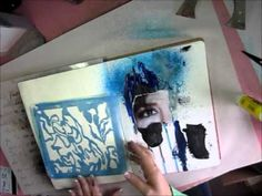 An art journaling video using a magazine image, extra heavy gesso, stencils, paint, and ink.