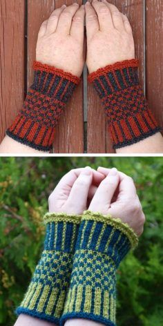 Free knitting pattern for Ida Wrist Cuffs – Arm warmers with stranded and slipped stitch colorwork. Option for crocheted edge. Some knitters used a picot bind off instead. 3 sizes Extra small, Small, Medium. Sport weight yarn. Designed by Sylke Feldhusen.