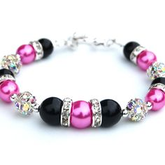 Hot Pink and Black Bridesmaid Bracelet Rhinestone by AMIdesigns, $22.00