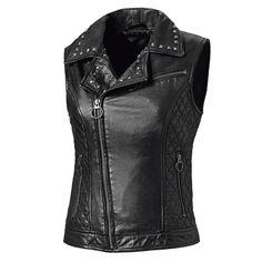 Ladies Women Real Leather Motorcycle Biker Waistcoat Vest Gilet Size M Motorbike Leathers, Sport Wear, Fashion Wear, Leather Fashion, Real Leather, Vest, Denim, Lady, Outfit