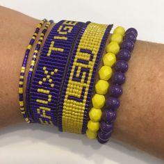 LSU Tigers bracelet, tigers bracelet, LSU jewelry, SEC bracelet, college jewelry, college bracelet by ByePeanut on Etsy https://www.etsy.com/listing/455695028/lsu-tigers-bracelet-tigers-bracelet-lsu