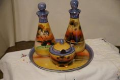 Vintage Lusterware 4 Piece Condiment Set. Starting at $30
