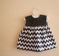 Baby Dress Polka Dot/ Black Chevron Summer Dress by littlesweetoes, $27.00