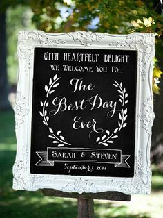 Wedding Chalkboard The Best Day Ever by SarahSaysSew on Etsy, $100.00
