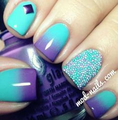 Glam Ideas For Ombre Nails Plus Tutorial ★ Simple Nail Art Designs, Best Nail Art Designs, Easy Nail Art, Purple Ombre Nails, Blue Nails, Gradient Nails, Purple Teal, Ombre Green, Acrillic Nails