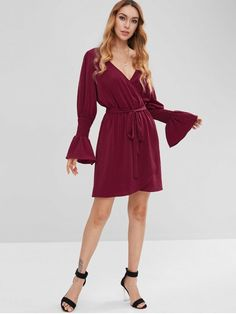 087a38701f ZAFUL Surplice Flare Sleeve Plunge Dress - RED WINE S Plunge Dress