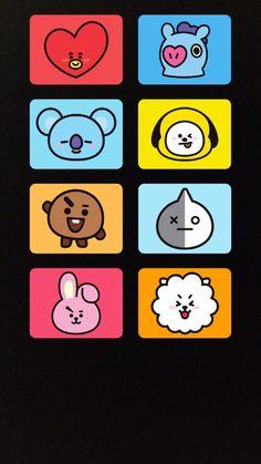 Funny Phone Wallpaper, Cartoon Wallpaper, Bts Wallpaper, V Wings, Kawaii Doodles, Character Wallpaper, Bts Drawings, Bullet Journal Ideas Pages, Line Friends