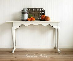 Hand painted sofa table, entryway table, hall or hallway table with rustic charm. by ShenandoahShabby on Etsy Painted Sofa, Painted Furniture, Hand Painted, White Sofa Table, White Sofas, Farmhouse Style Table, Rustic Charm, Entryway Tables, Shabby