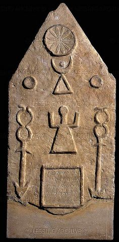 A Phoenician grave stele of the Moon-Goddess Tanit with sun & moon from Tophet in Carthage (modern Tunisia). At The London British Museum, London. Ancient Aliens, Ancient Egypt, Ancient History, Art History, Ancient Goddesses, Gods And Goddesses, British Museum, Art Ancien, Arte Tribal