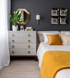 Decorating with Mustard Yellow - Hey, Djangles. Ever wanted to inject a bit of mustard yellow into your decor but wasn't sure where to start? Look no further! Find all the best mustard decor & design inspo right here. Mustard Yellow Bedrooms, Mustard Bedroom, Mustard Yellow Walls, Blue And Yellow Bedroom Ideas, Yellow Bedding, Yellow Pillows, Navy Bedrooms, Blue Bedroom, Home Decor Bedroom