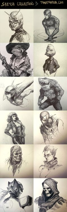 From Left to Right - Ant-Man - DareDevil - Howard the Duck - Howard the Duck - Ken, G-Force - Ripster, Street Sharks - Rogue - Scarlet Spider - Skull - . Sketch Collection part Comic Books Art, Comic Art, Book Art, Drawing Sketches, Art Drawings, Sketching, Animé Fan Art, Character Art, Character Design