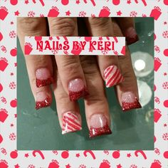Christmas candy cane nails. NAILS BY KERI.
