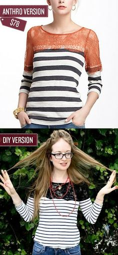 #Refashion striped top for women #sewing - BrassyApple.com