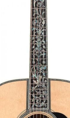 "Pearl inlays on a Martin D-50. ""Tree of Life."" So beautiful. My uncle has a custom Martin like this, my favorite to play!"