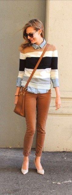 Caramelo + listras + camisa jeans