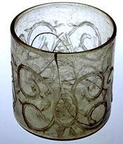 Check out  Glass tumbler from Birka, grave 542. In the Historiska Museet, Stockholm....