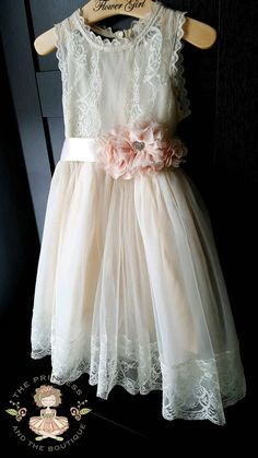 27cea8e860f Flower girl dress champagne with blush sash