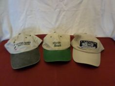 B-1153 Lot of 3 Outer Banks NC North Carolina & Myrtle Beach White Tan Hat Cap #Mixed