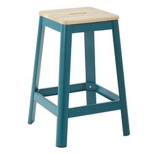 Office Star Work Smart Hammond Frosted Metal Barstool with Dark Wood Seat (Teal), Blue Metal Counter Stools, Kitchen Stools, Kitchen Island, Teal Kitchen, Metal Stool, Bar Counter, Kitchen Countertops, Office Star, Backless Bar Stools