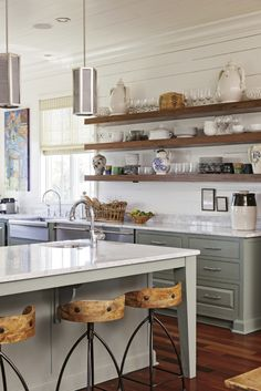 gray cabinets, aspen quartz countertops, rustic wood open shelving an modern pendants---Long wooden planks for open shelving in a South Carolina home by Cortney Bishop Design, as featured in Charleston Magazine (via House of Turquoise). Kitchen Shelves, Kitchen Redo, Kitchen Dining, Kitchen Remodel, Kitchen Ideas, Open Cabinets In Kitchen, Long Kitchen, Kitchen Furniture, Kitchen Storage