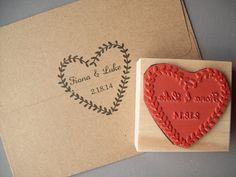 Personalize this heart-shaped laurel wreath to include two names and a date. This stamp is perfect for decorating invitations, making