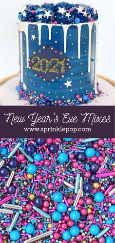 2020 has been...a year. But we're almost through it, and we're hoping that 2021 will be brighter for everyone! And what better way to kick things off than with a fun new collection of sprinkles. Am I right?? #newyears #nye #sprinkles #baking #recipe #desserts #colorful #happynewyear New Year's Desserts, White Desserts, Blue Frosting, Oreo Cake, Wafer Paper, Glitter Stars, New Years Eve Party, Nye, Rainbow Colors