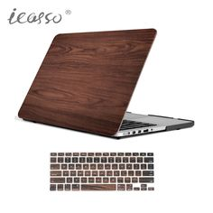 icasso Brown Wooden Matte Case For Apple Macbook Air 13 Case Air 11 Pro 13 Retina 12 13 15 Laptop Bag For Mac Book Pro 13.3 Case