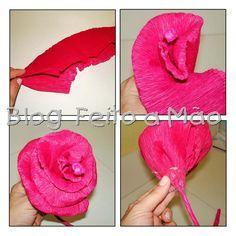rosa flor de papel crepe - papel crepom