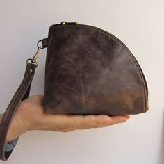 Leather Q-bag clutch / zipper pouch / bag organizer  handmade  by rinarts