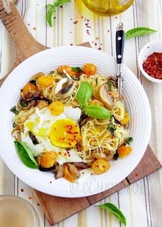 Angel Hair Pasta with Mushrooms, Basil and Fried Egg