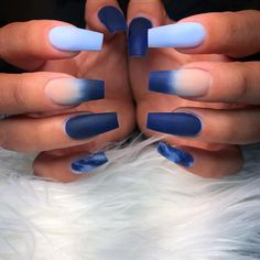Hand Painted Nail Artist on Blue Acrylic Nails, Summer Acrylic Nails, Acrylic Nail Designs, Blue Matte Nails, Matte Nail Art, Summer Nails, Fancy Nails, Pretty Nails, Lavender Nails