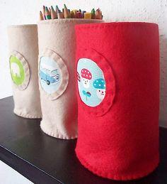 medium sized felt storage buckets by paper-and-string-on-flickr, via Flickr