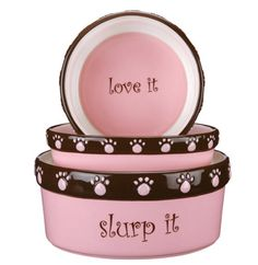 """Pet Studio Cutie Paw Dishes are ceramic food and water dishes for dogs and cats. High gloss ceramic dishes in our most popular color combinations. Dog dishes (the round 5"""" and 7"""" sizes) have a """"chomp it, slurp it, love it"""" logos all over it, and the Cat dishes (oval size) and say """"cute kitty"""" on the inside.  Material: Ceramic Care: Hand wash with mild soap and warm water.    New! The Kitty Boutique at www.puppylovecouture.com"""